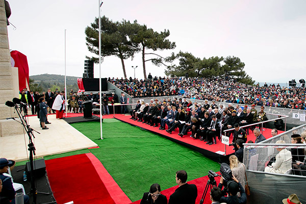 News 25042015. The New Zealand Service at Chunuk Bair Memorial that President Michael D Higgins and his wife Sabina attended . Photo Chris Bellew / Copyright Fennell Photography 2015